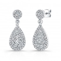 Bouquet Collection 14K White Gold Pear Shaped Diamond Dangle Drop Earrings LVE288