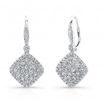 Bouquet Collection 14K White Gold Cushion Shaped Diamond Dangle Earrings LVE289