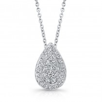 Bouquet Collection Diamond and 14K White Gold Pear Shaped Pendant LVN658