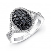 14K White Gold Black Oval Diamond Ring LVR108BL