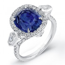 Saphisto Collection Platinum Sapphire Cushion Diamond Ring LVS621