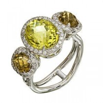 Dazzling Zeghani Lemon Quartz and Coniac Ring
