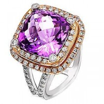 Lovely Amethyst and Diamond Ring By Zeghani