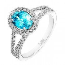 Fashionable Zeghani Blue Topaz and Diamond Ring