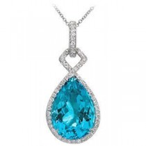 Elegant Zeghani Blue Topaz and Diamond Pendant