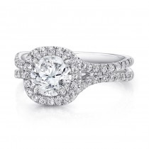 Uneek Round Diamond Engagement Ring with Cushion-Shaped Halo and Pave Double Shank, in 14K White Gol