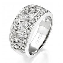 Uneek 18K White Gold Round Diamond Ring WB068