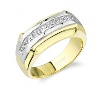 Uneek 18K White and Yellow Gold Princess-Cut Diamond Men's Band WB104