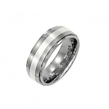 Triton 7.5mm Titanium With Silver Inlay Domed With Step Edge Comfort Fit Band 11-01-2100