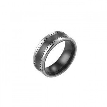 Triton 8mm Black Ceramic W/ Tungsten Carbide Inlay Multi-Piece Construction Concave Comfort Fit Band