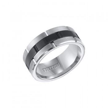 Triton Black And White Tungsten Carbide Comfort Fit Band 11-01-4321