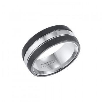 Triton Black And White Tungsten Carbide Comfort Fit Band 11-01-4333