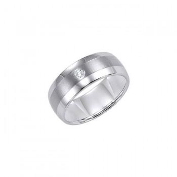 Triton 9mm Black Tungsten Carbide Domed Diamond Comfort Fit Band 21-2211