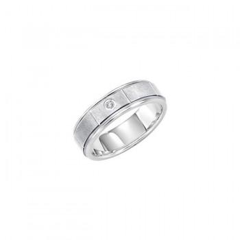 Triton 6.5mm White Tungsten Carbide Flat With Rims Diamond Comfort Fit Band 21-2212