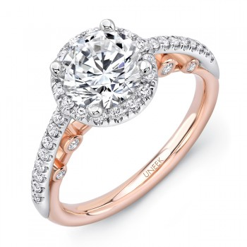 """Uneek """"La Notte Stellata"""" Round Diamond Halo Engagement Ring with Pave Upper Shank in 14K White Gold"""