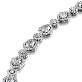 Platinum Round & Shield Diamond Bracelet LBR100