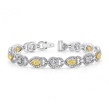 Natureal Collection Platinum And 18K Yellow Gold Pear Shaped Fancy Yellow Diamond Bracelet LBR126