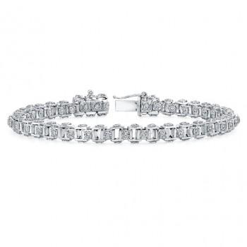 18K Gold Cube Link Diamond Bracelet LBR139
