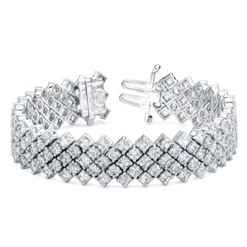 Uneek 5-Row Tilted Asscher Diamond Tennis Bracelet, in 18K White Gold