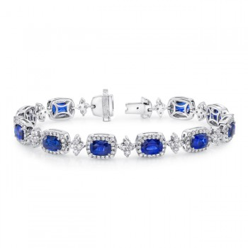 Uneek Cushion-Cut Sapphire Bracelet with Floret-Shaped Diamond Links, in 18K White Gold