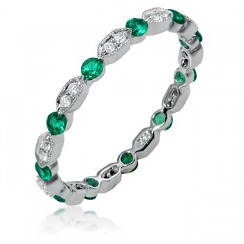 Uneek Art Deco-Inspired Emerald and Diamond Band in 14K White Gold