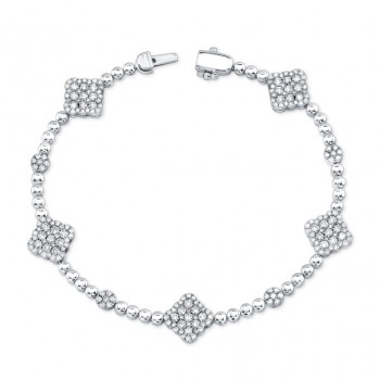 Bouquet Collection 14K White Gold Diamond Shaped Diamond Bracelet LVBR02