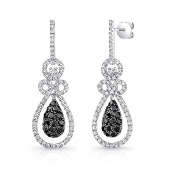 14K White Gold Black Diamond Earrings LVE020BL