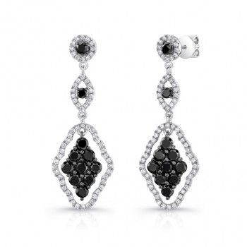 14K White Gold Black Kite Shaped Diamond Earrings LVE023BL
