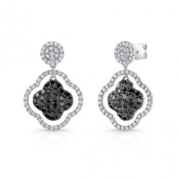 14K White Gold Black Clover Shaped Diamond Earrings LVE027BL