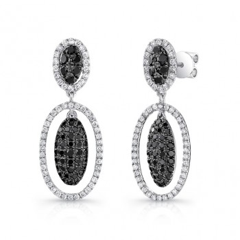 14K White Gold Black Oval Shaped Diamond Earrings LVE028BL