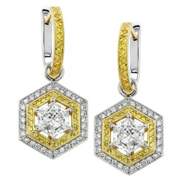Uneek 18K White Gold Yellow and White Diamond Earrings LVE072