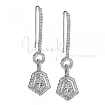 Uneek Platinum Round Diamond Earrings LVE098