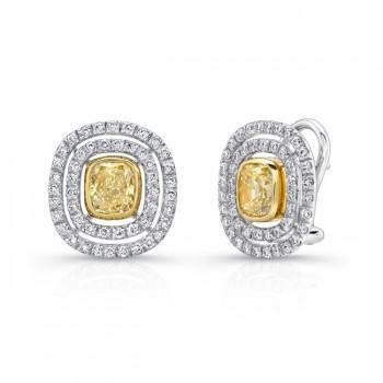 18K White & Yellow Gold Cushion Diamond Stud Earrings LVE144