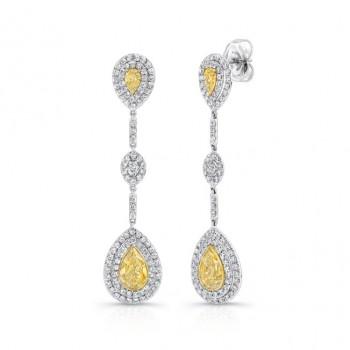 18K White & Yellow Gold Pear Shaped Yellow Diamond Dangling Earrings LVE196