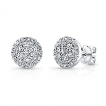 Bouquet Collection 14K White Gold Round Cluster Diamond Stud Earrings LVE295