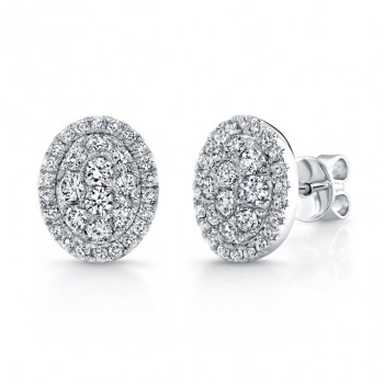Bouquet Collection 14K White Gold Oval Diamond Stud Earrings LVE296