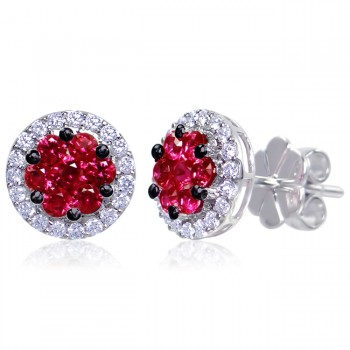 Uneek Ruby Cluster Stud Earrings with Round Diamond Halo, in 14K White Gold