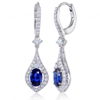 Uneek Oval Blue Sapphire Dangle Earrings with Teardrop-Shaped Pave Diamond Halos, in 14K White Gold