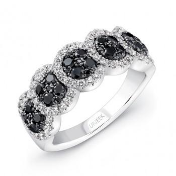 14K White Gold Black Circular Diamond Ring LVR106BL