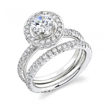 Uneek Platinum Halo Diamond Engagement Ring With Matching Band LVS206