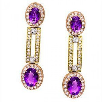 Alluring Zeghani Amethyst and Diamond Earrings