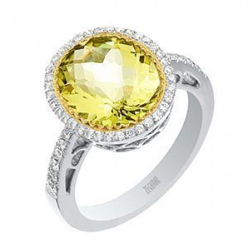 Beautiful Zeghani Lemon Quartz and Diamond Ring