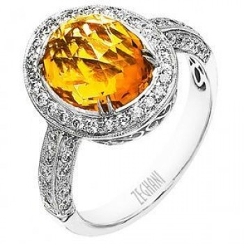 Lovely Citrine and Diamond Fashion Ring by Zeghani