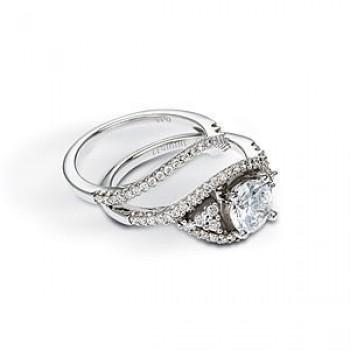 Gorgeous Zeghani Diamond Wedding Set 14k White Gold