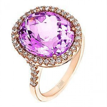 Beautiful Zeghani Amethyst And Diamond Ring