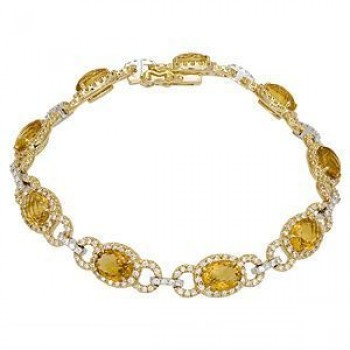 Gorgeous Two-tone Lemon Quartz and Diamond Bracelet
