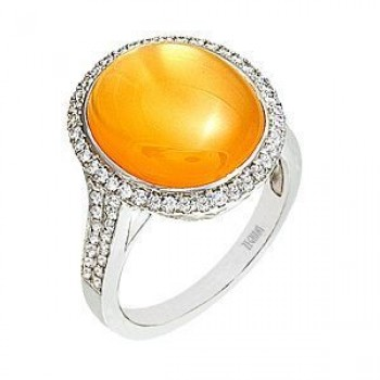Alluring Zeghani Peach Quartz and Diamond Ring