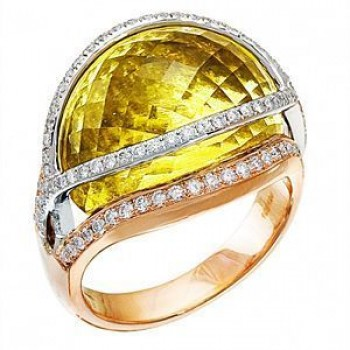 Elegant Lemon Quartz and Diamond Ring by Zeghani