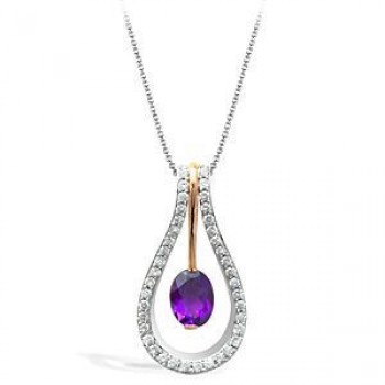 Beautiful Zeghani Amethyst and Diamond Pendant