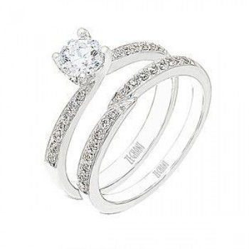 Exquisite Zeghani Diamond Engagement Ring and Band Set